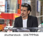 Small photo of LOS ANGELES, CA - JANUARY 26, 2011: Colin Farrell on Hollywood Blvd where Donald Sutherland was honored with a star on the Hollywood Walk of Fame. January 26, 2011 Los Angeles, CA
