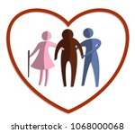 caring for the elderly concept  ... | Shutterstock .eps vector #1068000068