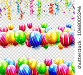 vector set of seamless birthday ... | Shutterstock .eps vector #1068005246