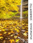 Small photo of South Falls in Silver Falls state Park. Maple trees are showing peak fall color. Near Silverton, Oregon.