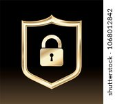 golden security shield... | Shutterstock .eps vector #1068012842