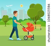 father walking in the park with ... | Shutterstock .eps vector #1068025586