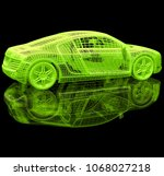 sport car. 3d model on a black... | Shutterstock . vector #1068027218