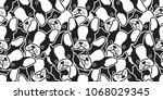 dog seamless pattern french... | Shutterstock .eps vector #1068029345