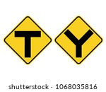 isolated y symbol  intersection ... | Shutterstock .eps vector #1068035816