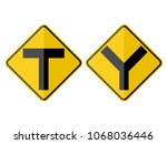 isolated y symbol  intersection ... | Shutterstock .eps vector #1068036446