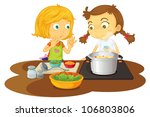 illustration of a girls cooking ... | Shutterstock . vector #106803806