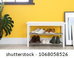 collection of stylish shoes on...   Shutterstock . vector #1068058526