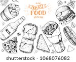 fast food hand drawn sketch... | Shutterstock .eps vector #1068076082