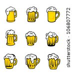 set of beer glasses with fresh... | Shutterstock . vector #106807772