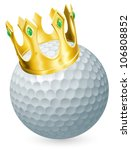 King of golf concept, a golf ball wearing a gold crown - stock photo