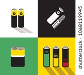 a set of flat battery icon in... | Shutterstock .eps vector #1068119945