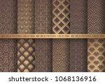 art deco patterns set. golden...   Shutterstock .eps vector #1068136916