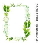 green leaves frame template.... | Shutterstock .eps vector #1068140792
