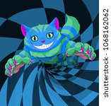 cheshire cat jumping to the... | Shutterstock .eps vector #1068162062
