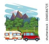 caravan at landscape | Shutterstock .eps vector #1068186725