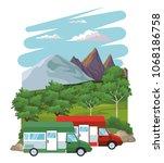 caravan at landscape | Shutterstock .eps vector #1068186758