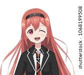 anime schoolgirl. cartoon... | Shutterstock .eps vector #1068199508