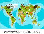 map of the world's animals with ... | Shutterstock .eps vector #1068234722