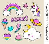 cute stickers for children ... | Shutterstock .eps vector #1068248942