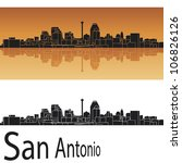 San Antonio Skyline In Orange...