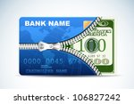 illustration of dollar inside credit card with zipper - stock vector