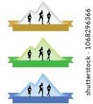 color mountain running logos or ... | Shutterstock .eps vector #1068296366