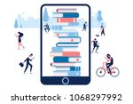electronic library in mobile... | Shutterstock .eps vector #1068297992