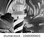 lighthouse on an abstract black ... | Shutterstock . vector #1068300602