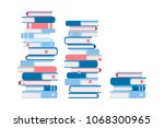 3 stacks of books  different by ... | Shutterstock .eps vector #1068300965