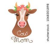 cute cow portrait. calf...   Shutterstock .eps vector #1068301898