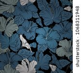 hand written vector hibiscus... | Shutterstock .eps vector #1068311948
