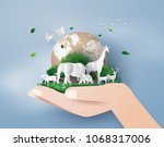 Concept of World Wildlife Day and environment with the animal in forest , Paper art and digital craft style. | Shutterstock vector #1068317006