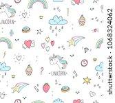 cute unicorn vector pattern | Shutterstock .eps vector #1068324062