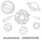 coloring book page the planets... | Shutterstock .eps vector #1068332438