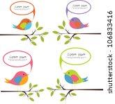 cute birds with speech bubbles | Shutterstock .eps vector #106833416