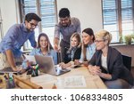group of young business people ... | Shutterstock . vector #1068334805