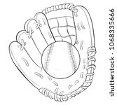 coloring book page a baseball... | Shutterstock .eps vector #1068335666