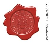wax red seal isolated on white... | Shutterstock . vector #1068340115