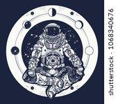astronaut in the lotus position ...   Shutterstock .eps vector #1068340676