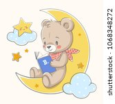cute bear sits on the moon and... | Shutterstock .eps vector #1068348272