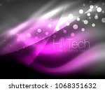 neon wave background with light ... | Shutterstock .eps vector #1068351632