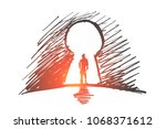 vector hand drawn inside... | Shutterstock .eps vector #1068371612