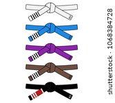 brazilian jiu jitsu adult belts ... | Shutterstock .eps vector #1068384728