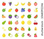 cute fruit flat icon set  such...   Shutterstock .eps vector #1068392246