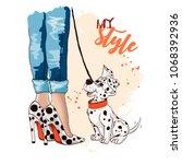 beautiful women legs in... | Shutterstock .eps vector #1068392936