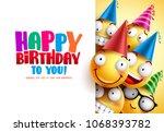 smileys birthday vector...   Shutterstock .eps vector #1068393782