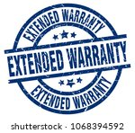 extended warranty blue round...   Shutterstock .eps vector #1068394592