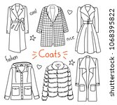 set of hand drawn women clothes.... | Shutterstock .eps vector #1068395822