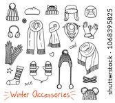 set of hand drawn women... | Shutterstock .eps vector #1068395825